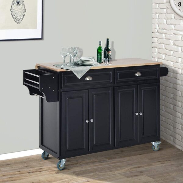 HomCom Wood Top Drop-Leaf Multi-Storage Cabinet Rolling Kitchen Island Table Cart with Wheels - Black (Black - Portable - Wood)