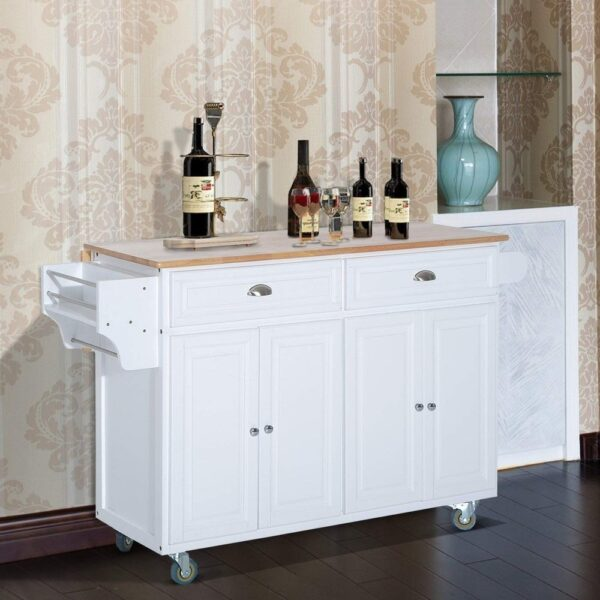 HomCom Wood Top Drop-Leaf Multi-Storage Cabinet Rolling Kitchen Island Table Cart with Wheels - White (Portable - Brown - Wood)