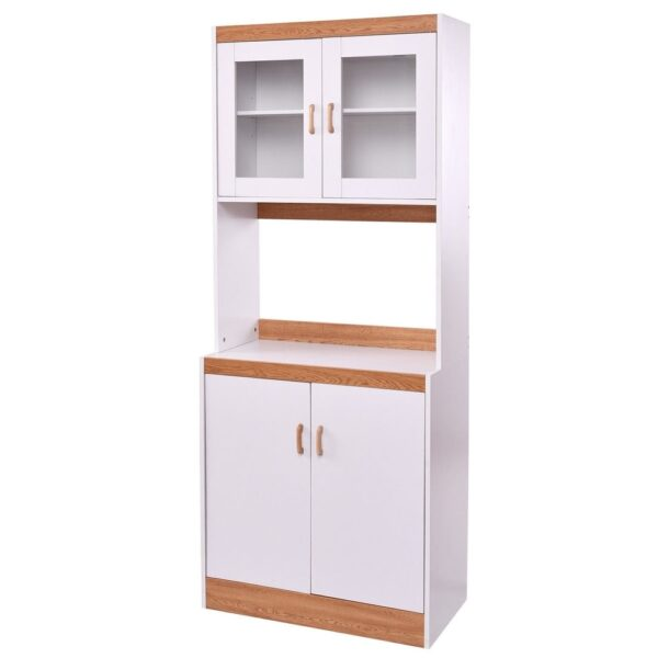 Tall Shelves Microwave Cart Stand Kitchen Storage Cabinet - White (White)