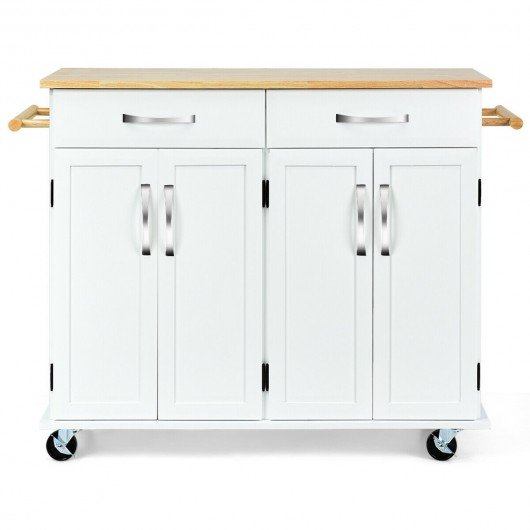 Wood Top Rolling Kitchen Trolley Island Cart Storage Cabinet-White