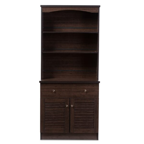 Baxton Studio Agni Modern and Contemporary Dark Brown Buffet and Hutch Kitchen Cabinet DR 883701-Wenge