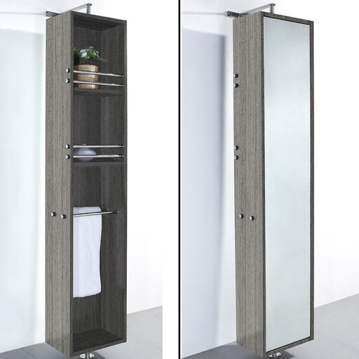 Linen Tower & 360 Degree Rotating Floor Cabinet with Full-Length Mirror in Gray Oak