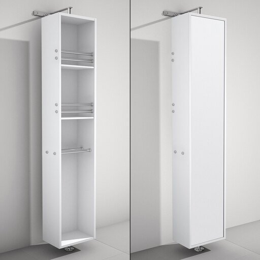 Linen Tower & 360 Degree Rotating Floor Cabinet with Full-Length Mirror in White