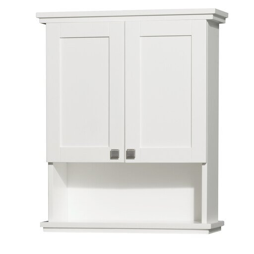 Solid Oak Bathroom Wall-Mounted Storage Cabinet in White