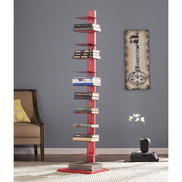 "Southern Enterprises Spine Tower Shelf, 65 1/4""H x 15 3/4""W x 16""D, Valiant Poppy"