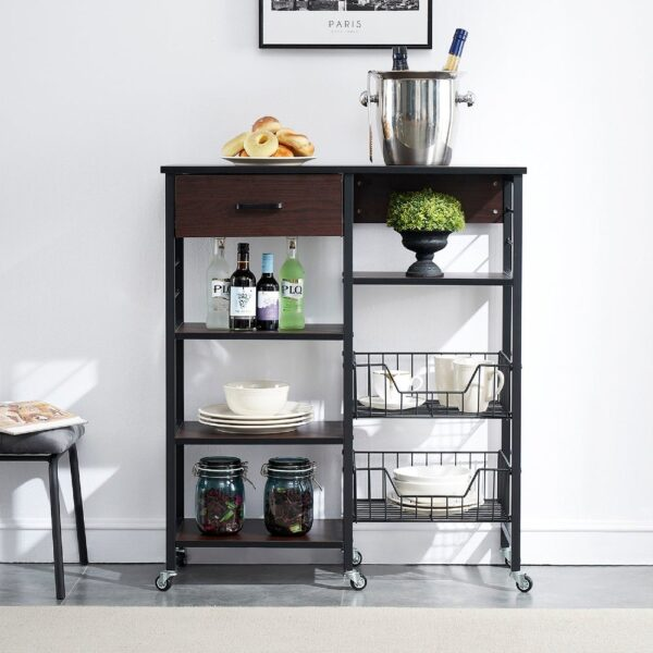 VECELO Brown Open Storage Kitchen Cabinet with Drawers - 31.5*36.61*11.81 (Black)