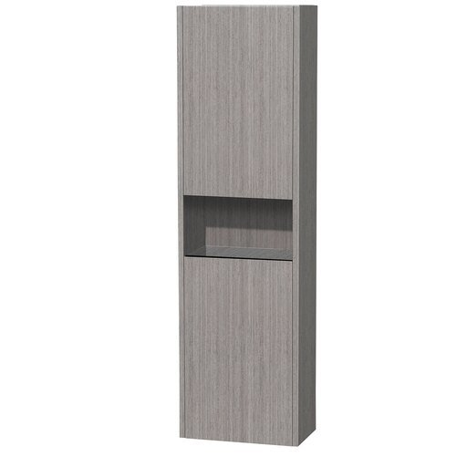 Wall-Mounted Bathroom Cabinet in Gray Oak with 2 Internal Storage Compartments