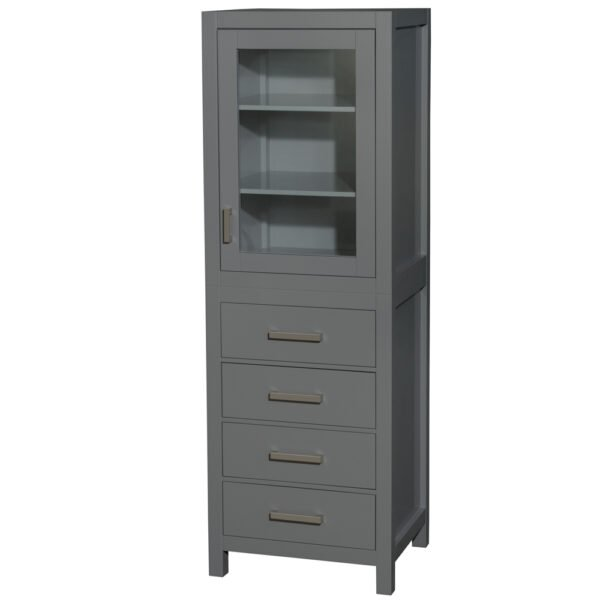 24 inch Linen Tower in Dark Gray with Shelved Cabinet Storage and 4 Drawers - Wyndham WCS1414LTKG