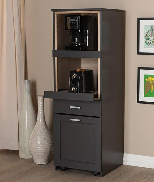 Baxton Studio Fabian Modern & Contemporary Dark Grey & Oak Brown Finished Kitchen Cabinet w/ Roll-Out Compartment - SE KC013WI+DG/HO