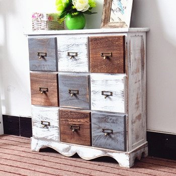 Creative Nordic simple solid wood home furniture bedroom bedside cabinet kitchen furniture retro style living room storage table