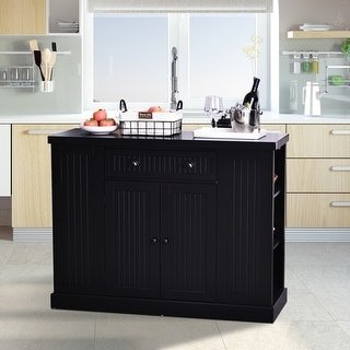 HomCom Fluted-Style Wooden Kitchen Island Storage Cabinet with Drawer, Open Shelving, and Interior Shelving (Black)