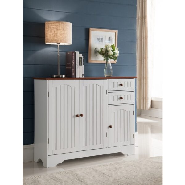K and B Furniture Co White Wood Kitchen Storage Cabinet (table)
