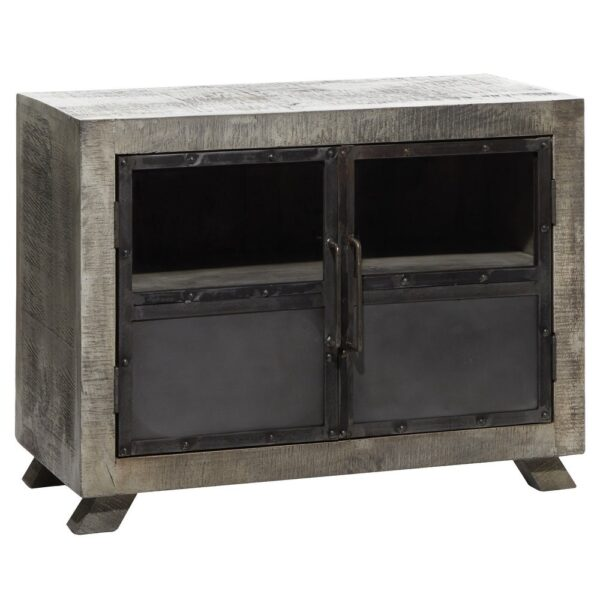 "Large Wood Kitchen Cabinet w Vintage Style Doors and Distressed Grey Finish 37""x28"" - 37 x 20 x 28 (37 x 20 x 28 - Grey)"
