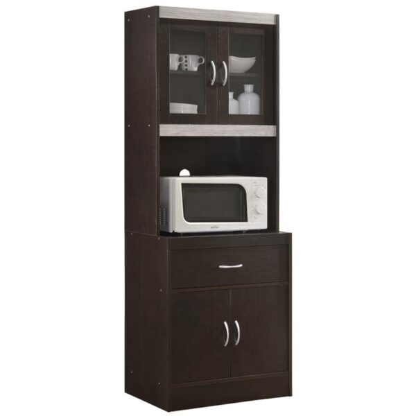 Pemberly Row Kitchen Cabinet in Chocolate Gray